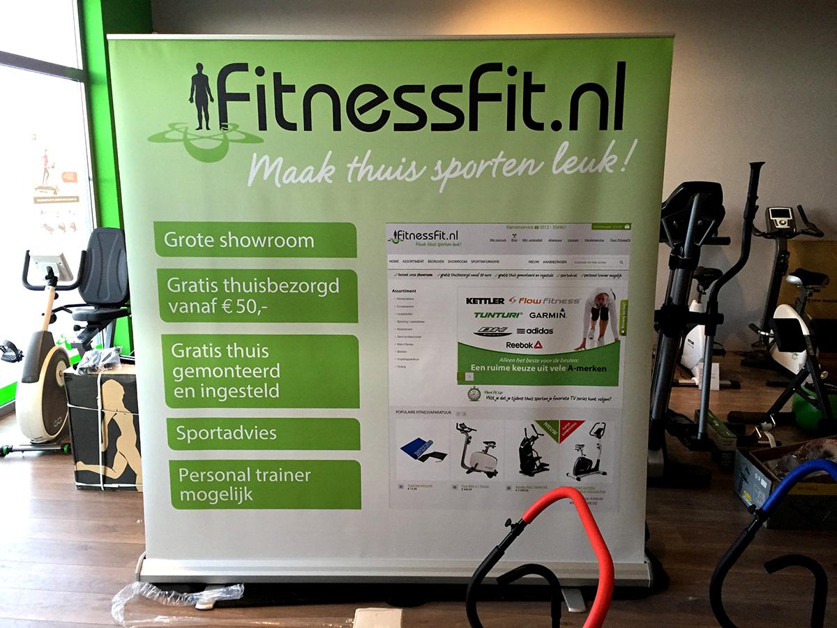 fitnessfit beurs grote rollup banner xxl 200x200cm Drachten Friesland