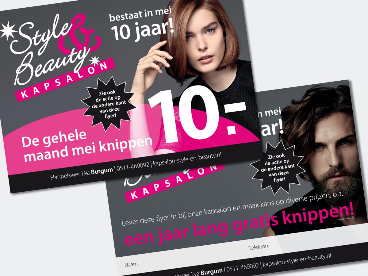 Flyer A5 Kapsalon Style & Beauty Burgum Friesland