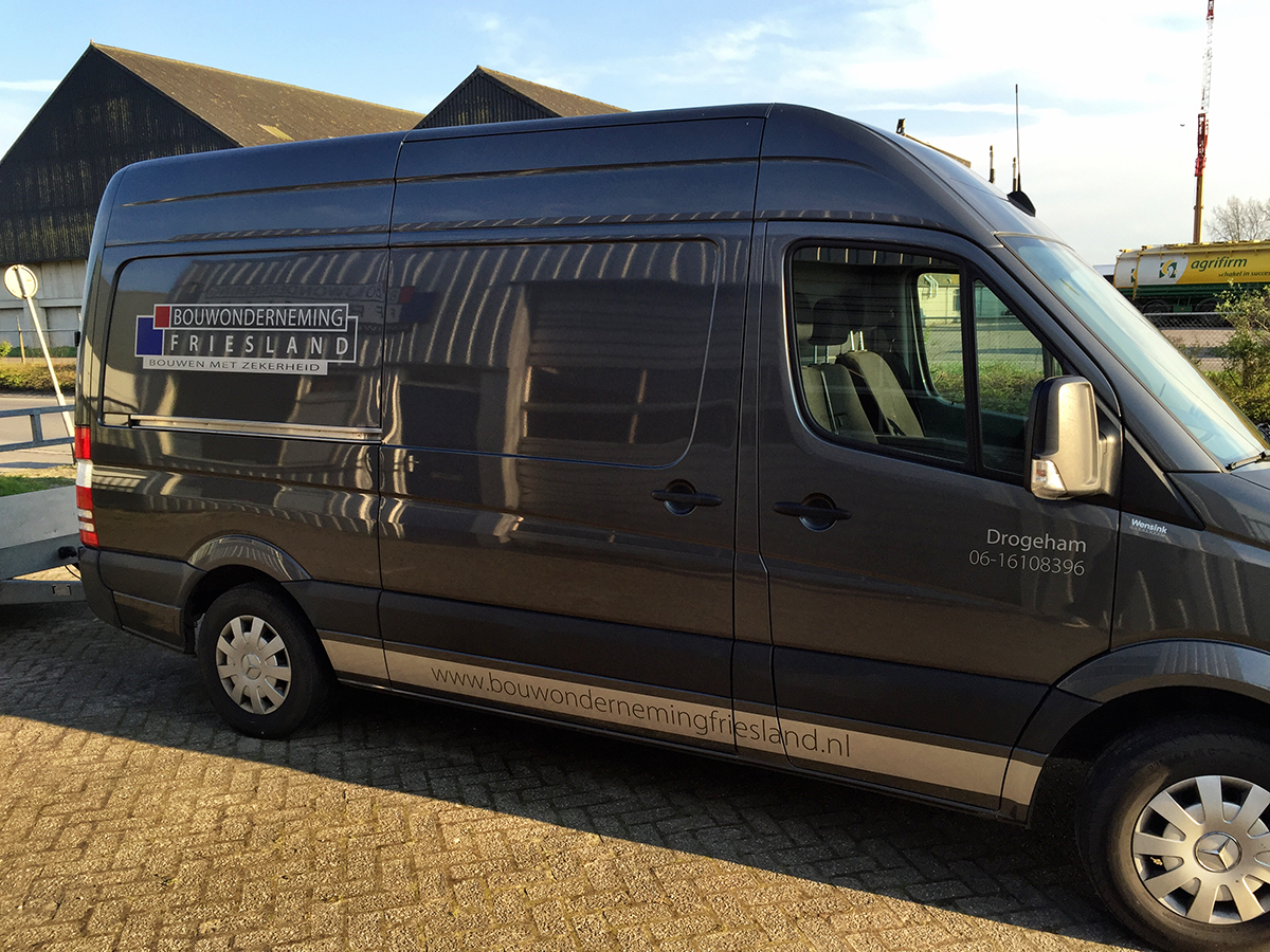 Auto Belettering Reclame Mercedes Sprinter Bouwonderneming Friesland