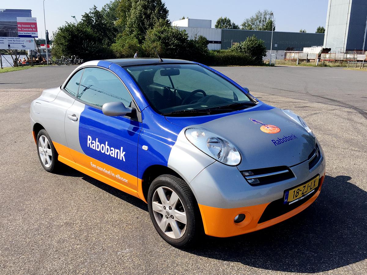 4auto-reclame-stickers-carwrapping-belettering-nissan-micra-rabobank-nieuwe-huisstijl-drachten-friesland