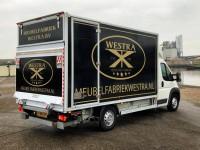 belettering folie logo bakwagen stickers meubelfabriek westra burgum friesland